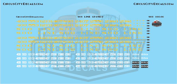 Soo Line GP9/SD9 N Scale Decal Set