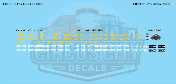 Soo Line GP9/SD9 G Scale Decal Set