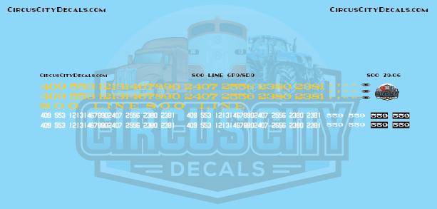 Soo Line GP9/SD9 G Scale Decal Set