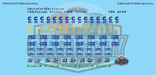 CSX Chessie System MOW Vehicle Door Logos O Scale