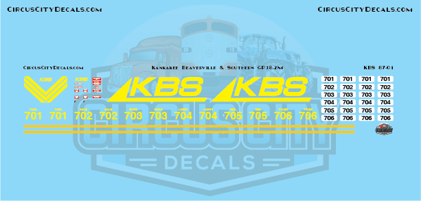 Kankakee Beaverville & Southern GP38-2M HO Scale Decal Set