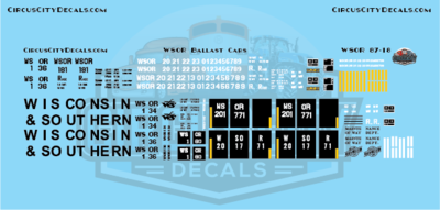 Wisconsin & Southern WSOR Ballast Hopper Decal Set N Scale WSOR