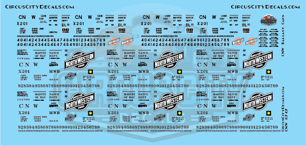 CNW Ballast Hopper HO Scale Decal Set