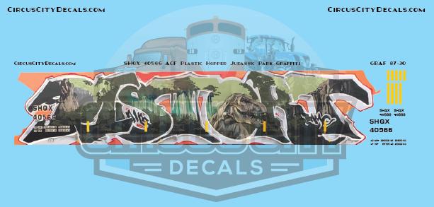 "SHQX 40566 Graffiti ""Jurassic Park"" Plastic Hopper HO Scale Decal Set"