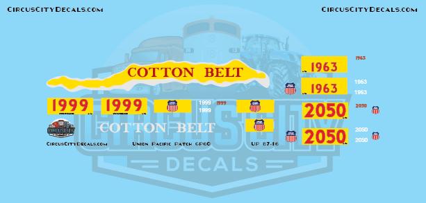UP Union Pacific SP Cotton Belt GP60 1999 Patch Set HO Scale