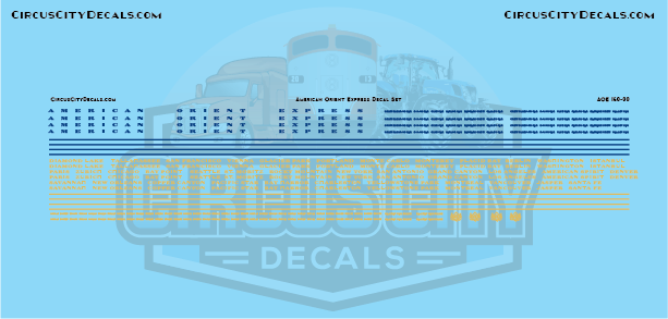 American Orient Express Passenger Car N Scale Decal Set