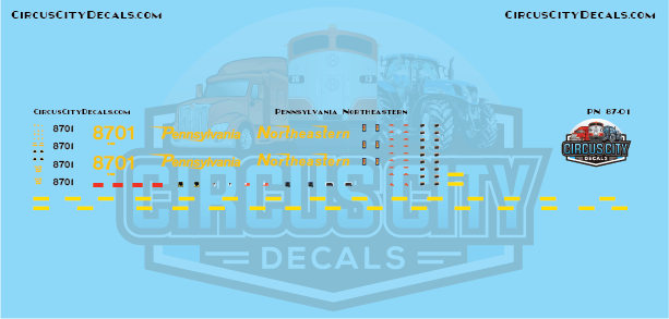 Pennsylvania Northeastern SD60 8701 ex-CSX HO Scale Decal Set