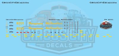 Pennsylvania Northeastern SD60 8701 ex-CSX N scale Decal Set
