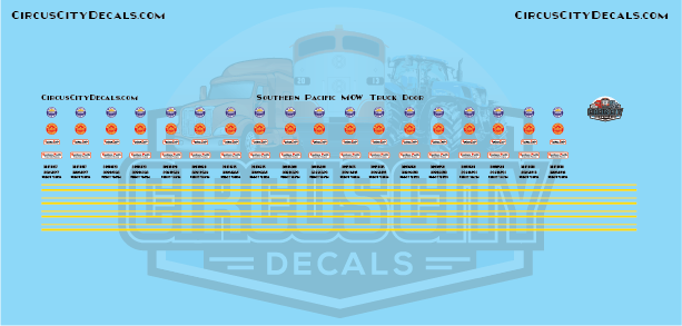 SP Southern Pacific MOW Truck Door N Scale Decals