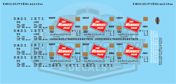 Milwaukee Road DSDX URTX Reefer HO Scale Decal Set