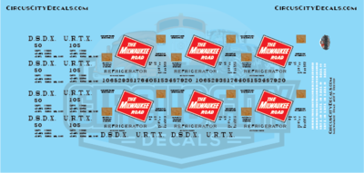 Milwaukee Road DSDX URTX Reefer N Scale Decal Set