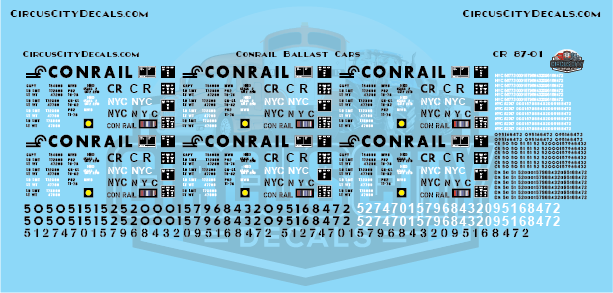 Conrail CR NYC 2 Bay Ballast Hopper HO Scale Decal Set