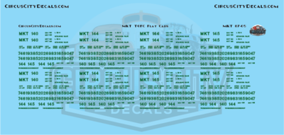 MKT TOFC Flat Cars HO Scale Decal Set