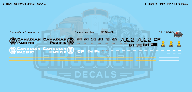 Canadian Pacific Military SD70ACU SD70 Decal Set N Scale​​ 7020 7021 7022 7023 6644