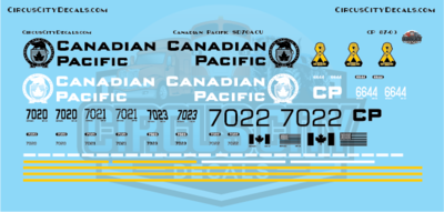 Canadian Pacific Military SD70ACU SD70 Decal Set HO Scale 7020 7021 7022 7023 6644