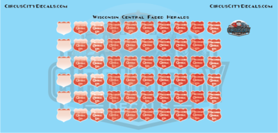 Wisconsin Central Faded Logos Heralds WC CN HO Scale