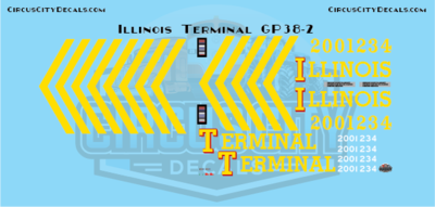 Illinois Terminal GP38-2 Aristocraft G Scale Decal Set