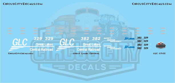Great Lakes Central SD40-2 382 329 HO Scale Decals