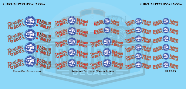 Ringling Bros. & Barnum Bailey RBBB Circus Wagon Banner Decals HO Scale