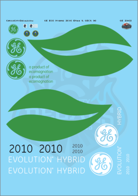 GE ECO Hybrid 2010 ES44 G Scale Decal Set
