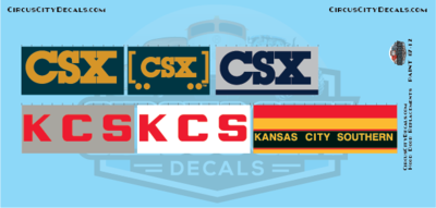 CSX KCS Railroad Hood Door Replacement Decals HO Scale Set​