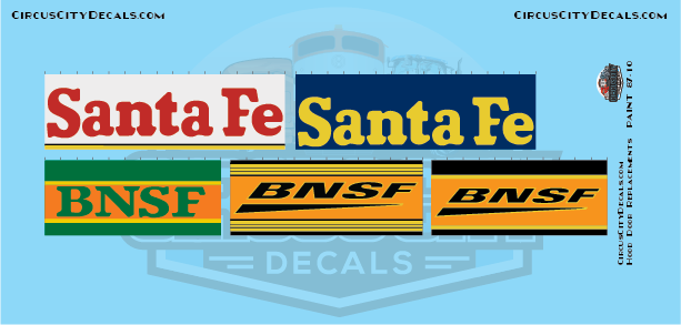 BNSF Santa Fe Railroad Hood Door Replacement Decals HO Scale Set​