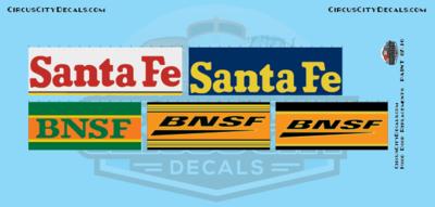BNSF Santa Fe Railroad Hood Door Replacement Decals N Scale Set