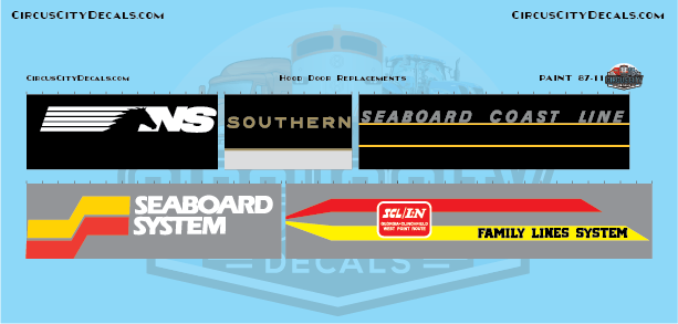 NS Southern Seaboard Coast Line Railroad Hood Door Replacement Decals N Scale Set​