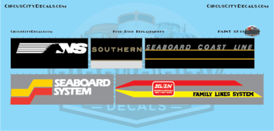 NS Southern Seaboard Coast Line Railroad Hood Door Replacement Decals HO Scale Set​
