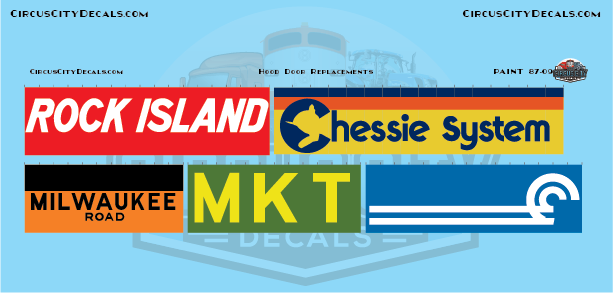 RI Chessie System MILW MKT Conrail Railroad Hood Door Replacement Decals HO Scale Set
