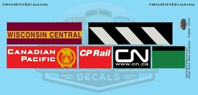 WC CN CP BN Railroad Hood Door Replacement Decals HO Scale Set​