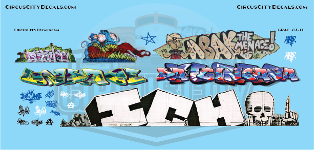 Railroad Graffiti HO Scale Decal Set