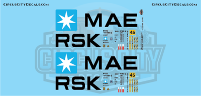 Maersk Container 45' G Scale Decal Set