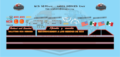 Kansas City Southern SD70ace 4009 Heroes Unit Decals HO Scale