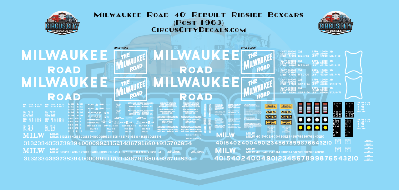 Milwaukee Road 40' Rebuilt Ribbed Side Boxcar N Scale Decal Set