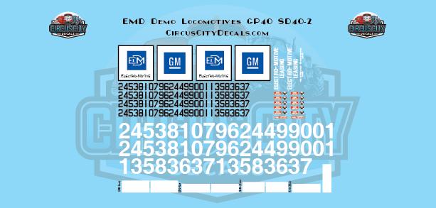 EMD Demonstrator Locomotives SD40-2 GP40 G Scale Decals
