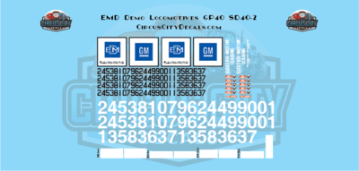 EMD Demonstrator Locomotives SD40-2 GP40 G Scale Decals