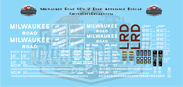 Milwaukee Road 60's 9' Door Appliance Boxcar S Scale Decal Set