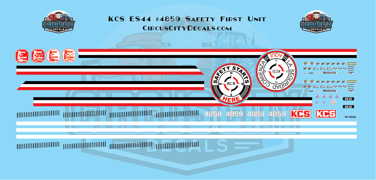 Kansas City Southern ES44 4859 Safety First Decals HO Scale