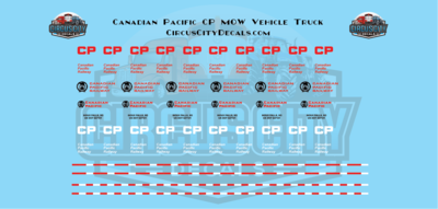 Canadian Pacific CP MOW Vehicle Truck Decal Set HO Scale