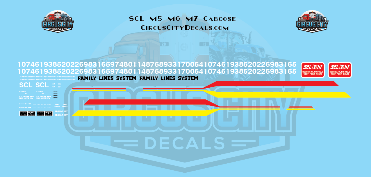 Seaboard Coast Line Family Lines System M5 M6 M7 Caboose Lettering HO Scale Decal Set