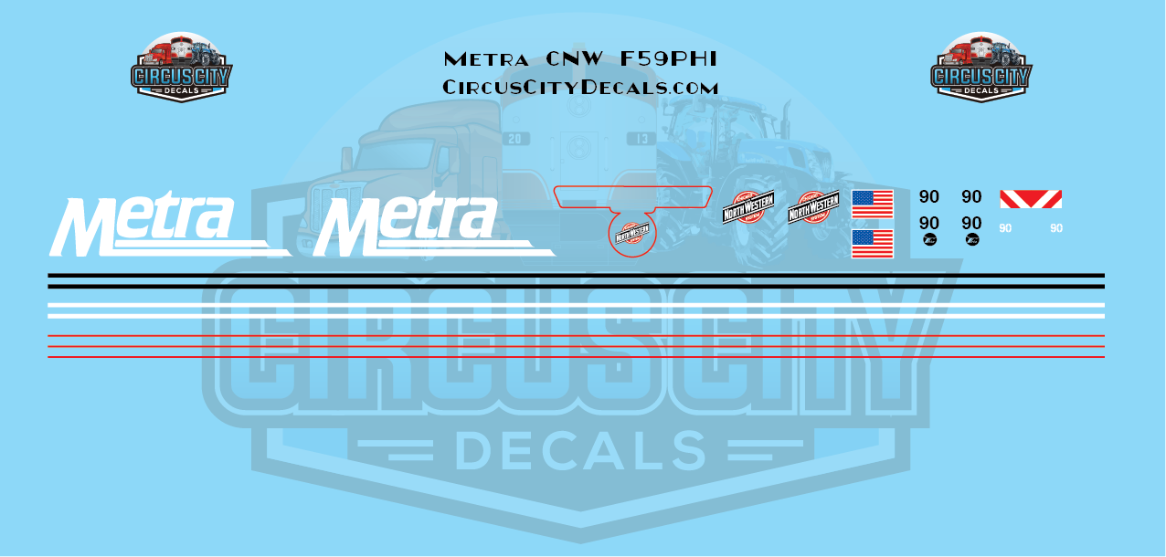 Metra METX F59PHI #90 CNW Chicago & Northwestern HO Scale Decal Set