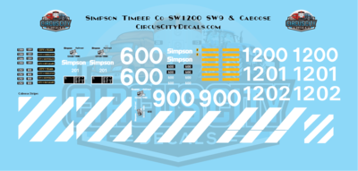 Simpson Timber Company SW1200 SW9 Caboose HO Scale Decal Set