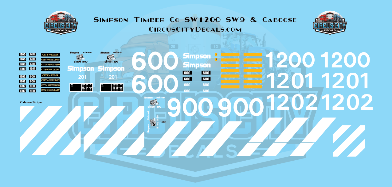 Simpson Timber Company SW1200 SW9 Caboose N scale Decal Set