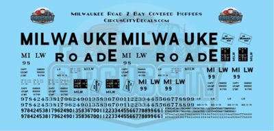 Milwaukee Road 2 Bay Covered Hopper Solid S Scale Decal Set