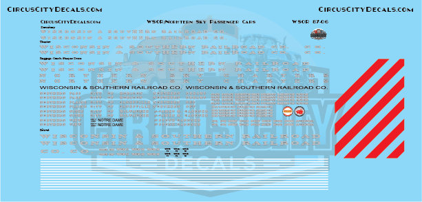 Wisconsin & Southern Railroad Passenger Car Decal N Scale Set WSOR
