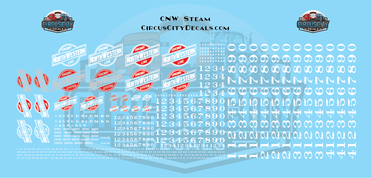 Chicago & North Western CNW C&NW Steam HO Scale Decal Set