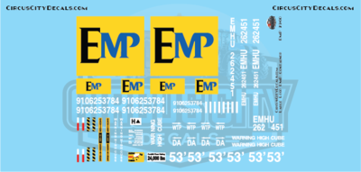 EMP 53' Container Large Logo G Scale Decal Set