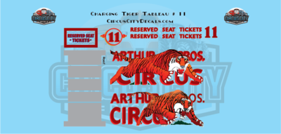 Charging Tiger Tableau # 11 Circus Wagon Decal Set HO Scale