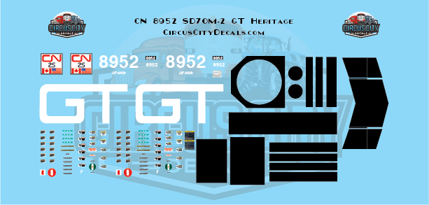 Canadian National 8952 SD70m-2 GT Heritage Decal Set N Scale Decal Set